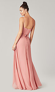 Image of high-low bridesmaid dress with sash. Style: KL-200207 Detail Image 8
