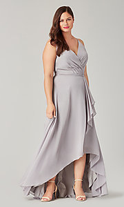Image of high-low bridesmaid dress with sash. Style: KL-200207 Detail Image 5