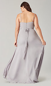Image of high-low bridesmaid dress with sash. Style: KL-200207 Detail Image 6