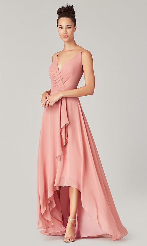 Image of high-low bridesmaid dress with sash. Style: KL-200207 Detail Image 7