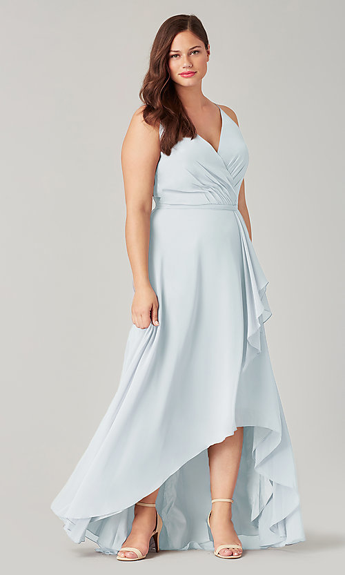 Image of high-low bridesmaid dress with sash. Style: KL-200207 Front Image