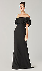 Image of long bridesmaid dress with ruffled flounce. Style: KL-200198 Detail Image 4