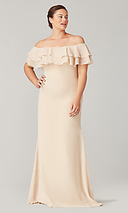 Image of long bridesmaid dress with ruffled flounce. Style: KL-200198 Detail Image 3