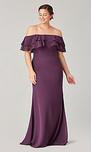 Image of long bridesmaid dress with ruffled flounce. Style: KL-200198 Detail Image 6