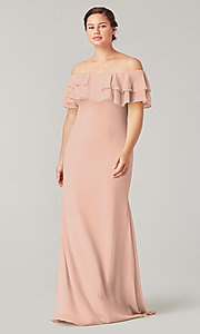 Image of long bridesmaid dress with ruffled flounce. Style: KL-200198 Detail Image 1