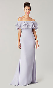 Image of long bridesmaid dress with ruffled flounce. Style: KL-200198 Detail Image 8