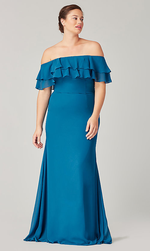 Image of long bridesmaid dress with ruffled flounce. Style: KL-200198 Front Image