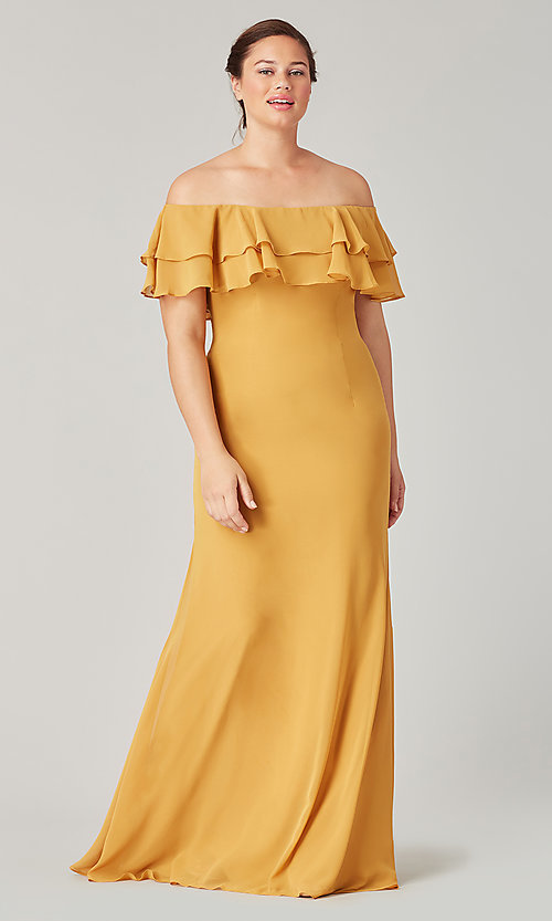 Image of long bridesmaid dress with ruffled flounce. Style: KL-200198 Detail Image 7