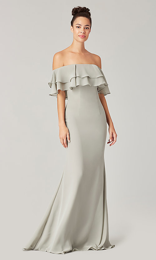 Image of long bridesmaid dress with ruffled flounce. Style: KL-200198 Detail Image 5