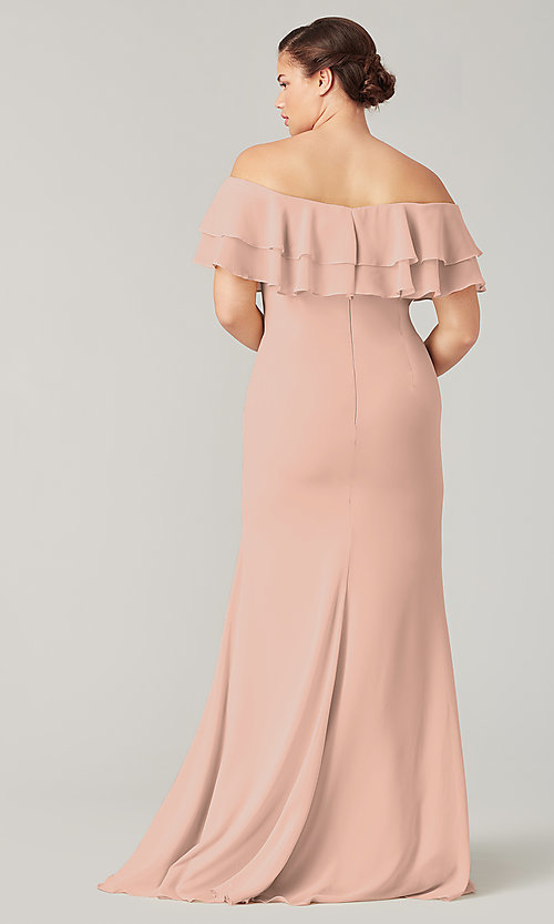 Image of long bridesmaid dress with ruffled flounce. Style: KL-200198 Detail Image 2
