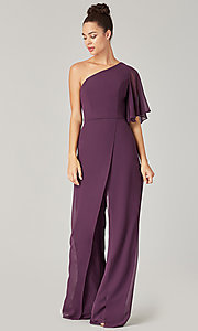 Image of long chiffon bridesmaid jumpsuit with sleeve. Style: KL-200199 Detail Image 1