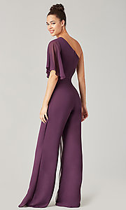 Image of long chiffon bridesmaid jumpsuit with sleeve. Style: KL-200199 Detail Image 2