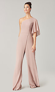 Image of long chiffon bridesmaid jumpsuit with sleeve. Style: KL-200199 Detail Image 3