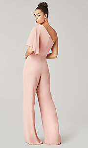 Image of long chiffon bridesmaid jumpsuit with sleeve. Style: KL-200199 Detail Image 6