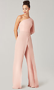 Image of long chiffon bridesmaid jumpsuit with sleeve. Style: KL-200199 Detail Image 5
