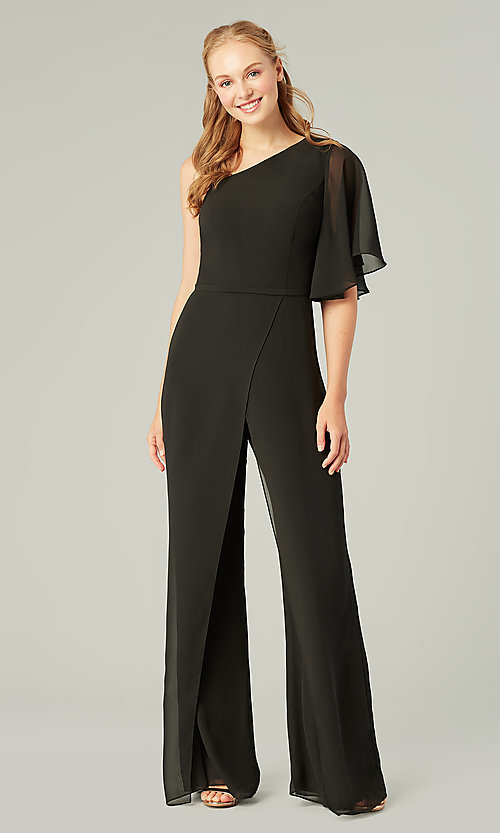 Image of long chiffon bridesmaid jumpsuit with sleeve. Style: KL-200199 Detail Image 7
