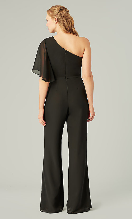 Image of long chiffon bridesmaid jumpsuit with sleeve. Style: KL-200199 Detail Image 8