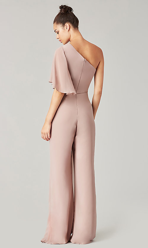 Image of long chiffon bridesmaid jumpsuit with sleeve. Style: KL-200199 Detail Image 4