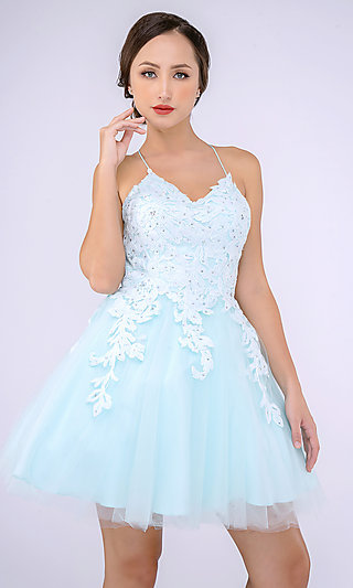 Short V-Neck Babydoll Hoco Dress with Embroidery