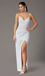 Image of glitter-knit long silver formal prom dress. Style: EM-CWP-2589-040 Front Image