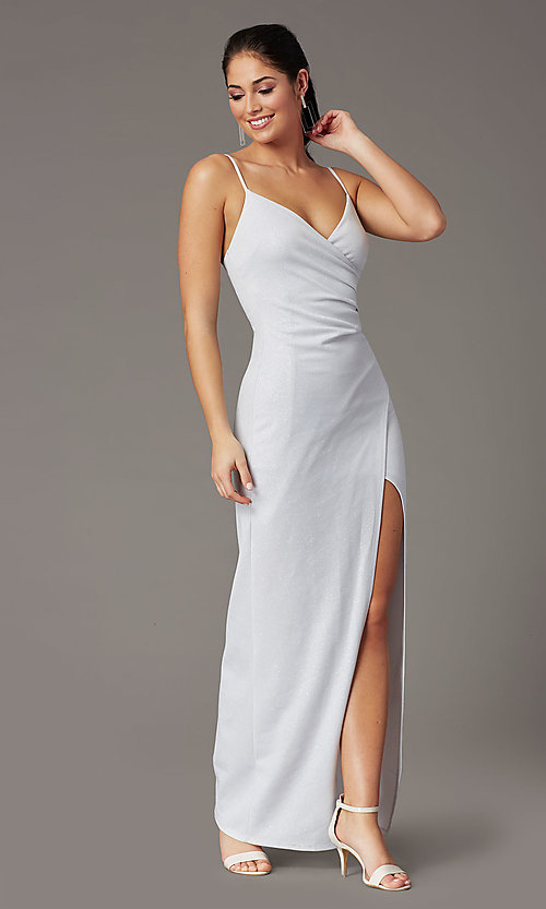 Image of glitter-knit long silver formal prom dress. Style: EM-CWP-2589-040 Detail Image 2