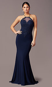 Image of long mermaid navy blue prom dress with embroidery. Style: TE-PL-9104 Front Image