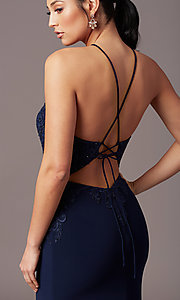 Image of long mermaid navy blue prom dress with embroidery. Style: TE-PL-9104 Detail Image 1
