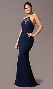 Image of long mermaid navy blue prom dress with embroidery. Style: TE-PL-9104 Detail Image 2