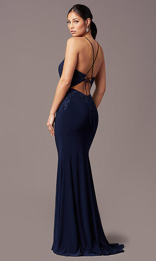Image of long mermaid navy blue prom dress with embroidery. Style: TE-PL-9104 Back Image