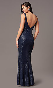 Image of v-neck long sleeveless sequin prom dress. Style: TE-PL-9111 Back Image