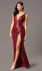 Image of v-neck long sleeveless sequin prom dress. Style: TE-PL-9111 Detail Image 2