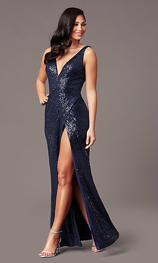 V-Neck Long Sleeveless Sequin Prom Dress