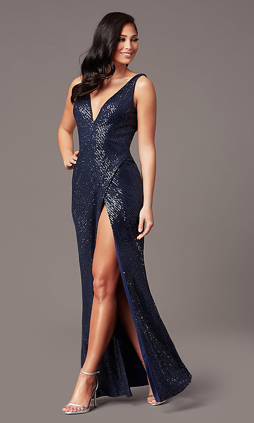 Image of v-neck long sleeveless sequin prom dress. Style: TE-PL-9111 Front Image