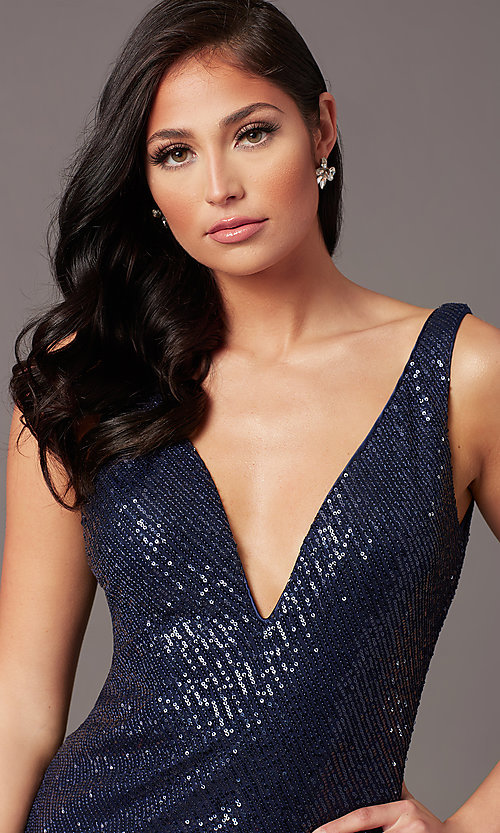 Image of v-neck long sleeveless sequin prom dress. Style: TE-PL-9111 Detail Image 1