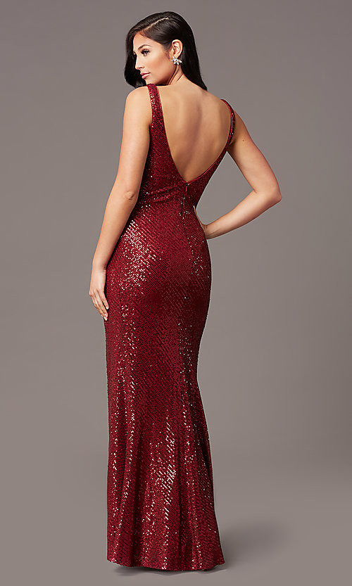 Image of v-neck long sleeveless sequin prom dress. Style: TE-PL-9111 Detail Image 3