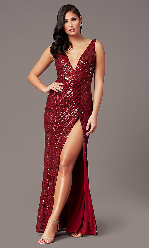 Image of v-neck long sleeveless sequin prom dress. Style: TE-PL-9111 Detail Image 5
