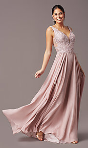 Image of embroidered-bodice long v-neck chiffon prom dress.  Style: TE-PL-9127 Front Image