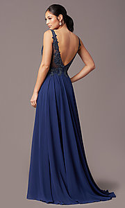 Image of embroidered-bodice long v-neck chiffon prom dress.  Style: TE-PL-9127 Detail Image 4