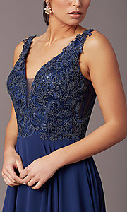 Image of embroidered-bodice long v-neck chiffon prom dress.  Style: TE-PL-9127 Detail Image 5