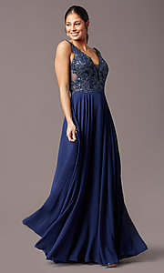 Image of embroidered-bodice long v-neck chiffon prom dress.  Style: TE-PL-9127 Detail Image 6