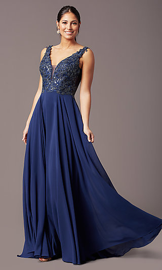Embroidered-Bodice Long V-Neck Chiffon Prom Dress