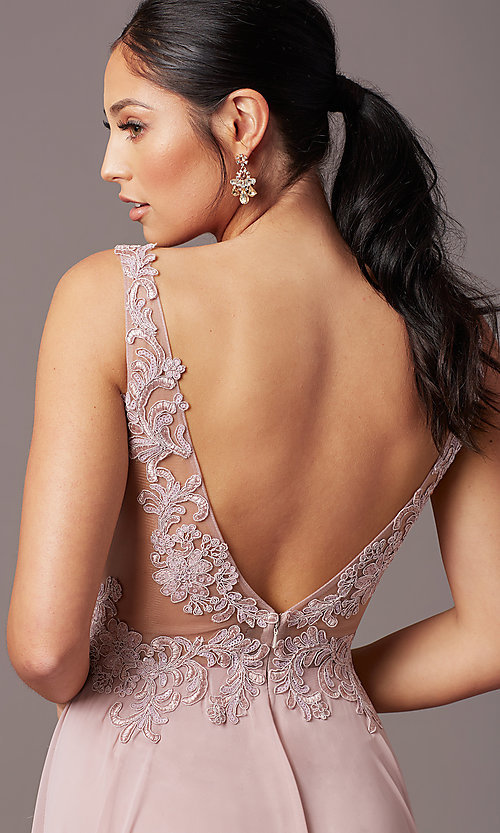 Image of embroidered-bodice long v-neck chiffon prom dress.  Style: TE-PL-9127 Detail Image 1