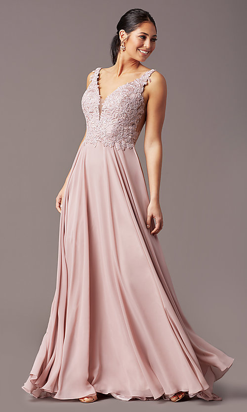 Image of embroidered-bodice long v-neck chiffon prom dress.  Style: TE-PL-9127 Detail Image 2