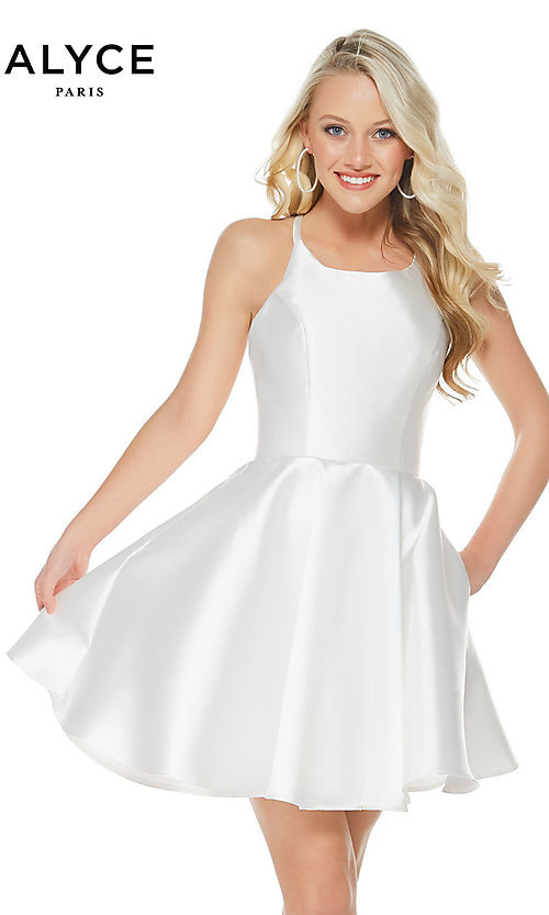 Image of Alyce fit-and-flare scoop-neck party dress. Style: AL-3703-v Detail Image 1