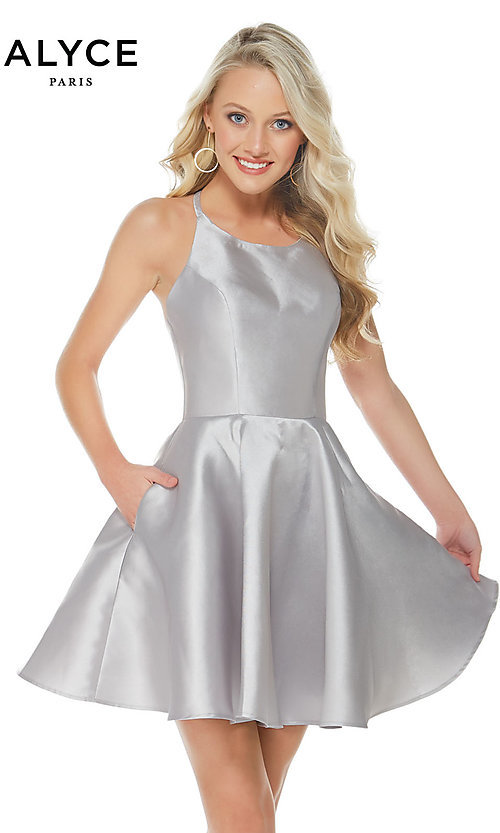 Image of Alyce fit-and-flare scoop-neck party dress. Style: AL-3703-v Front Image
