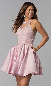 Image of dusty pink short homecoming dress with pockets. Style: DQ-3028-v Front Image