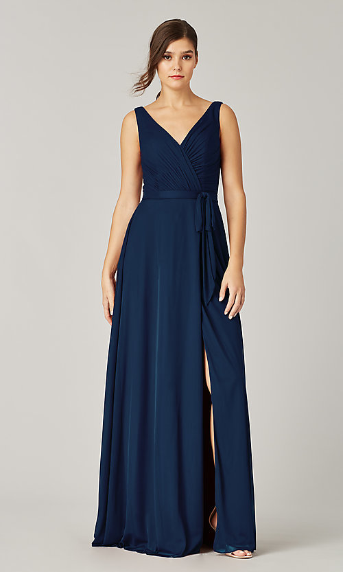 Image of stretch chiffon faux-wrap long bridesmaid dress. Style: KL-200200 Front Image