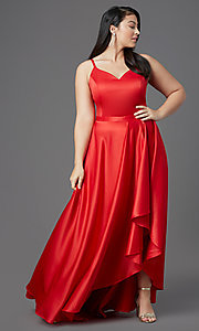 Image of plus-size high-low prom dress in red satin. Style: SC-PL-PG-2001 Front Image