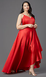 Image of plus-size high-low prom dress in red satin. Style: SC-PL-PG-2001 Detail Image 2