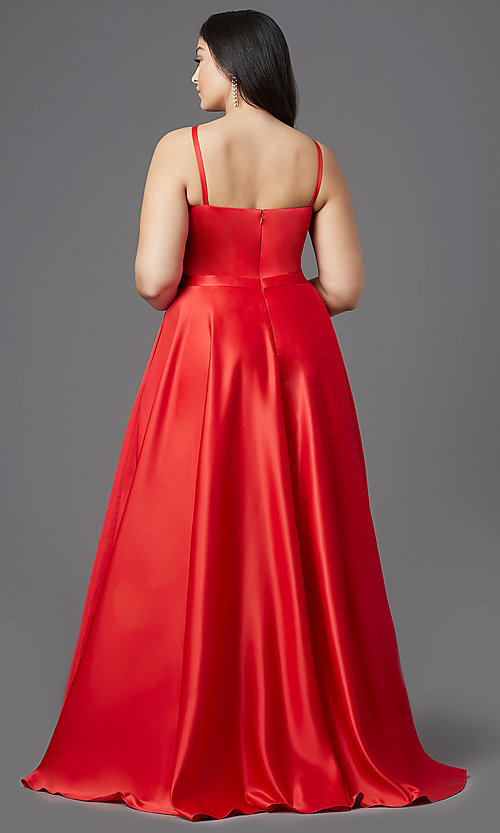 Image of plus-size high-low prom dress in red satin. Style: SC-PL-PG-2001 Back Image